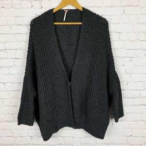 Free People   Slouchy Black Knit Cardigan S